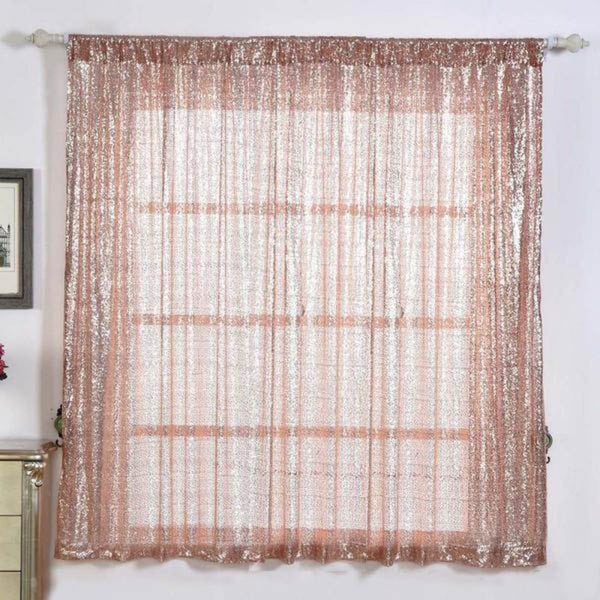 "Pack of 2 | 52""x64"" Sequin Curtains With Rod Pocket Window Treatment Panels - Rose Gold 