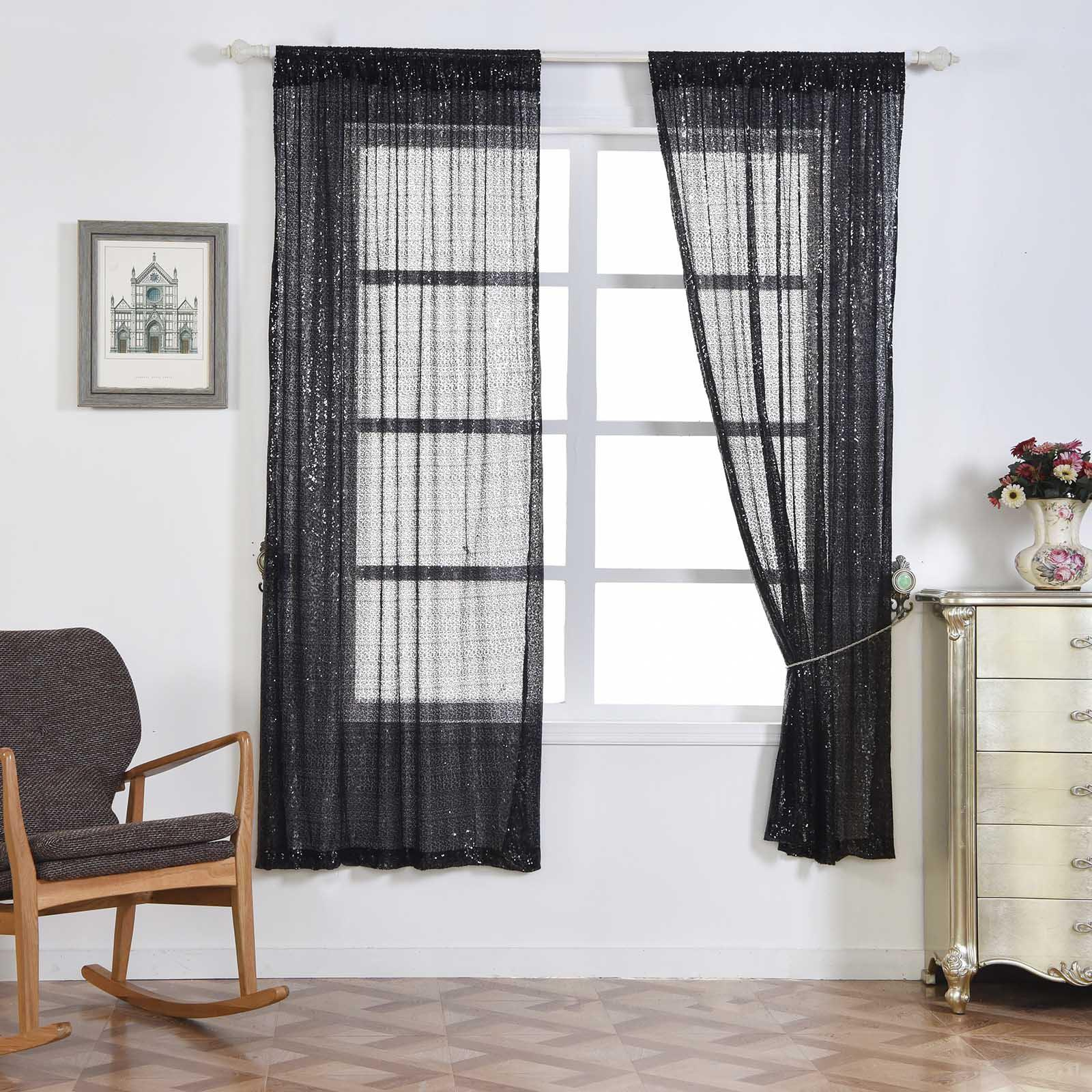 "2 Pack 52x64"" Black Sequin Accented Window Treatment Home"