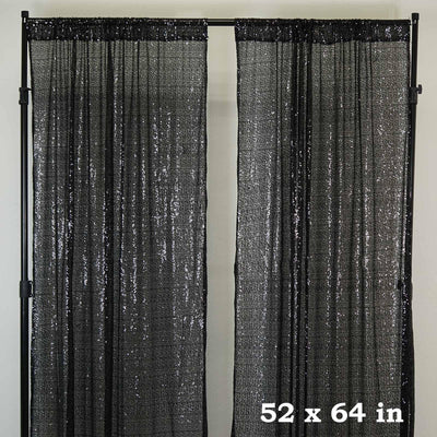"2 Pack | 52""x64"" Black Sequin Curtains With Rod Pocket Window Treatment Panels"