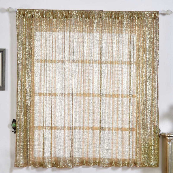 "Pack of 2 | 52""x64"" Champagne Sequin Curtains With Rod Pocket Window Treatment Panels - Clearance SALE"