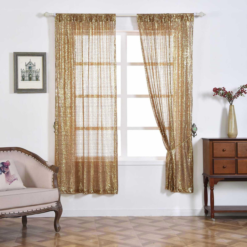 "2 Pack 52x64"" Gold Sequin Accented Window Treatment Home"