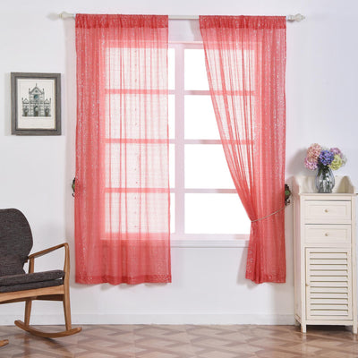 "Pack of 2 | 52""x84"" Coral Sequin Curtains With Rod Pocket Window Treatment Panels"