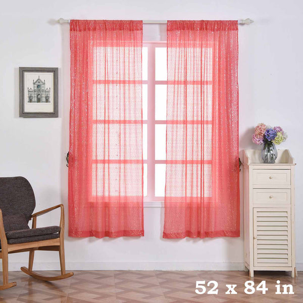 "Pack of 2 | 52""x84"" Coral Sequin Curtains With Rod Pocket Window Treatment Panels - Clearance SALE"