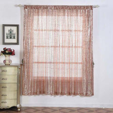 "Pack of 2 | 52""x84"" Sequin Curtains With Rod Pocket Window Treatment Panels - Rose Gold 