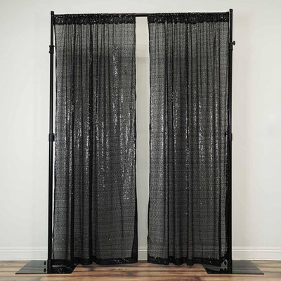 "2 Pack | 52""x84"" Black Sequin Curtains With Rod Pocket Window Treatment Panels"