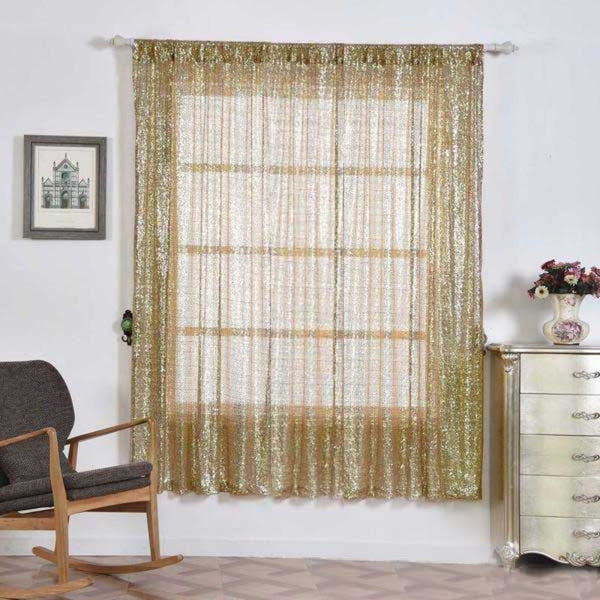 "Pack of 2 | 52""x84"" Champagne Sequin Curtains With Rod Pocket Window Treatment Panels - Clearance SALE"