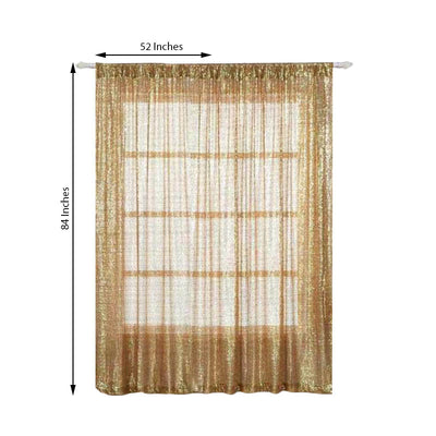 "Pack of 2 | 52""x84"" Gold Sequin Curtains With Rod Pocket Window Treatment Panels"