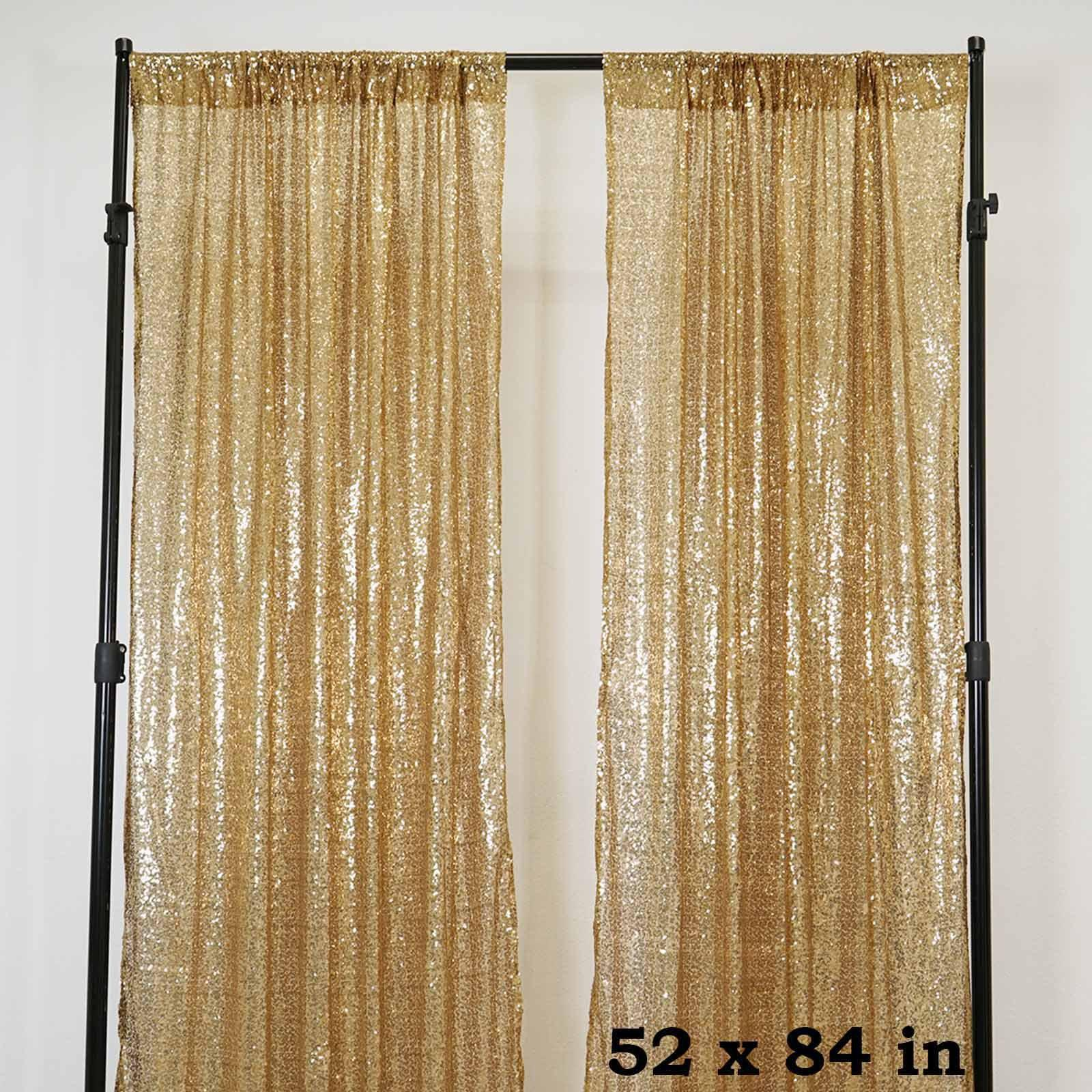 Glitzy Sequin Curtains 52x84 Gold Pack Of 2 Window