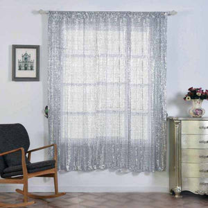 "2 Pack | 52""x84"" Silver Sequin Curtains With Rod Pocket Window Treatment Panels"