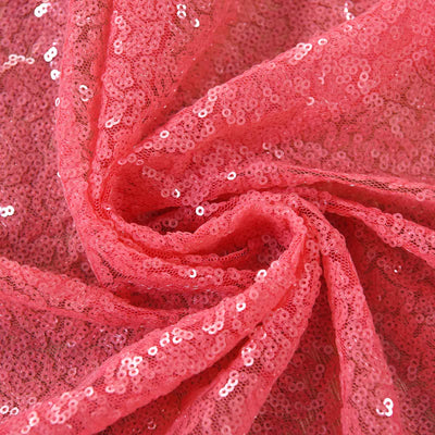 "2 Pack | 52""x96"" Coral Sequin Curtains With Rod Pocket Window Treatment Panels"