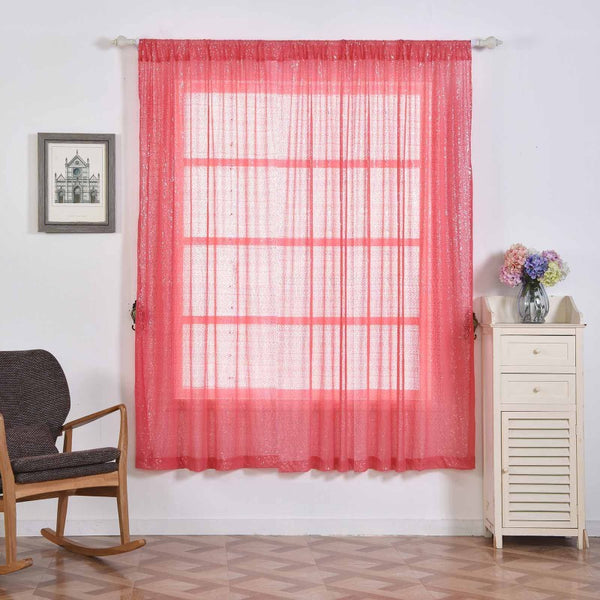 "Pack of 2 | 52""x96"" Coral Sequin Curtains With Rod Pocket Window Treatment Panels - Clearance SALE"