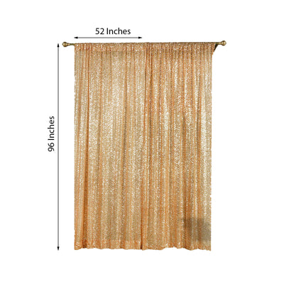 "Pack of 2 | 52""x96"" Gold Sequin Curtains With Rod Pocket Window Treatment Panels"