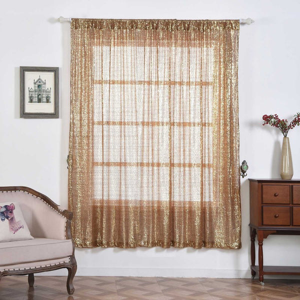 "Pack of 2 | 52""x96"" Gold Sequin Curtains With Rod Pocket Window Treatment Panels - Clearance SALE"