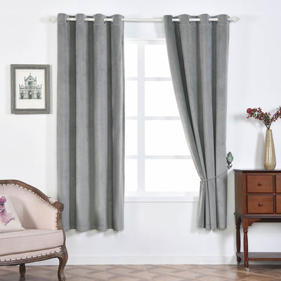 "2 Pack | 52""X108"" Silver Premium Velvet Thermal Blackout Curtains With Chrome Grommet Window Treatment Panels"
