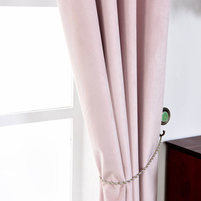 "2 Pack | 52""X96"" Premium Velvet Thermal Blackout Curtains With Chrome Grommet Window Treatment Panels - Rose Gold 