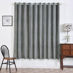 Charcoal Grey Blackout Curtains | 2 Packs | 52 x 84 Inch Grommet Curtains | Velvet Blackout Curtains