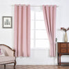 "2 Pack | 52""X84"" Soft Velvet Thermal Blackout Curtains With Chrome Grommet Window Treatment Panels - Rose Gold 