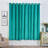 "2 Pack | 52""X84"" Teal Soft Velvet Thermal Blackout Curtains With Chrome Grommet Window Treatment Panels"