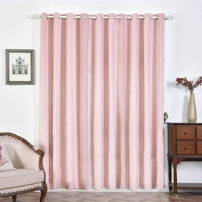 "2 Pack | 52""X96"" Soft Velvet Thermal Blackout Curtains With Chrome Grommet Window Treatment Panels - Rose Gold 