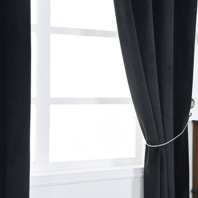 Black Soundproof Curtains | 2 Packs | 52 x 96 Inch Grommet Curtains | Room Darkening Curtains With Grommets
