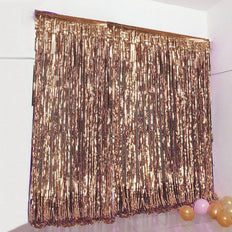 8ft Blush | Rose Gold Metallic Foil Fringe Curtain