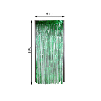 8ft Green Metallic Foil Fringe Curtain - Doorway and Party Backdrop Curtain