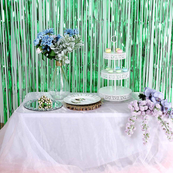8ft Green Metallic Foil Fringe Curtain | Doorway and Party Backdrop Curtain