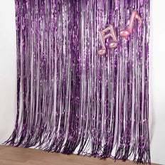 8ft Purple Metallic Foil Fringe Curtain