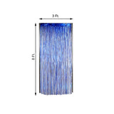 8ft Royal Blue Metallic Foil Fringe Curtain - Doorway and Party Backdrop Curtain