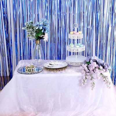 Metallic Foil Fringe Curtain, Backdrop Curtain | TableclothsFactory