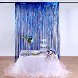8ft Royal Blue Metallic Foil Fringe Curtain | Doorway and Party Backdrop Curtain