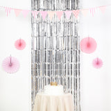 8ft Silver Metallic Foil Fringe Curtain