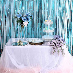 8ft Blue Metallic Foil Fringe Curtain
