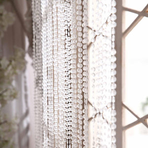36 Sq Ft Crystal Diamond Beaded Curtain with Bendable Metal Rod and Adjustable Hooks