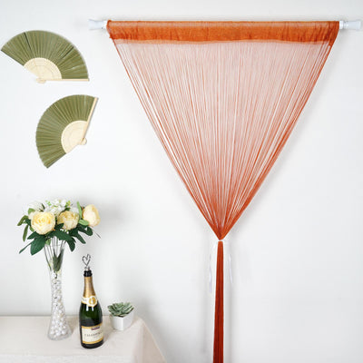 12 Ft Long Coral Silk String Tassels Backdrop Curtains for Party