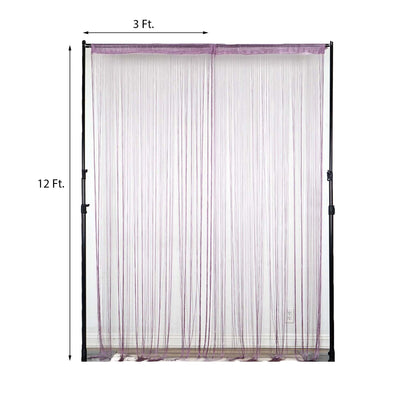12 Ft | Lavender Silk String Tassel Backdrop Curtain Panel
