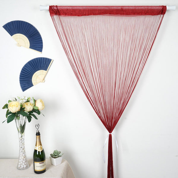 12FT Long Burgundy Silk String Tassels Backdrop Curtains for Party