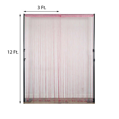 12FT Long Pink Silk String Tassels Backdrop Curtains for Party