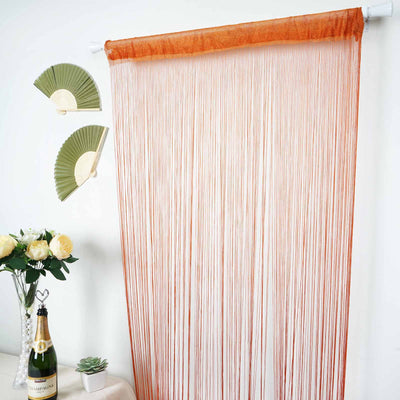 8 Ft Long Coral Silk String Tassels Backdrop Curtains for Party