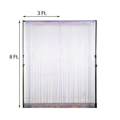 8 Ft Long Lavender Silk String Tassels Backdrop Curtains for Party  - Clearance SALE