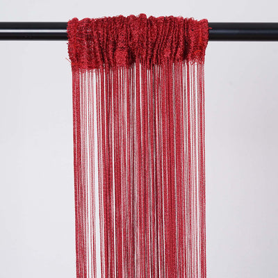 8 Ft Long Burgundy Silk String Tassels Backdrop Curtains for Party
