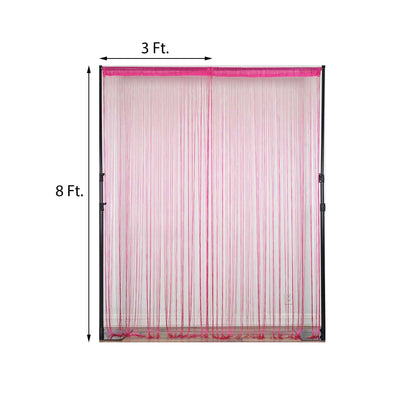 8FT Long Fuchsia Silk String Tassels Backdrop Curtains for Party
