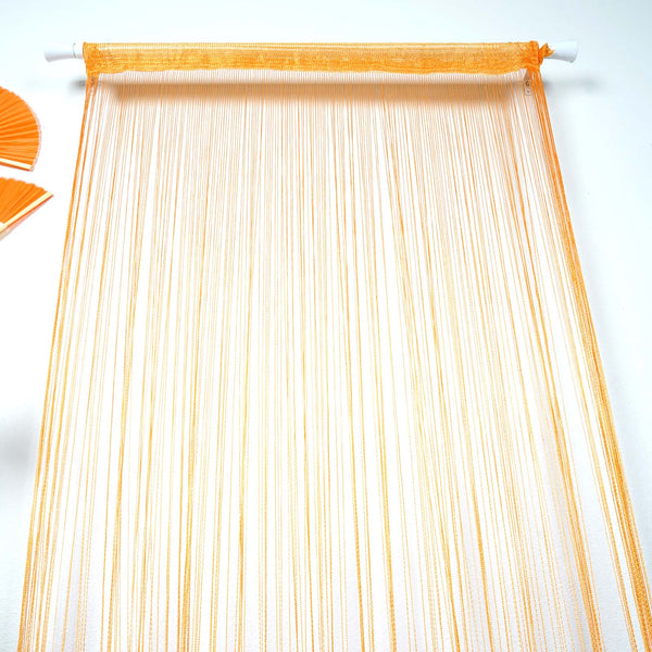 8FT Long Orange Silk String Tassels Backdrop Curtains for Party  - Clearance SALE