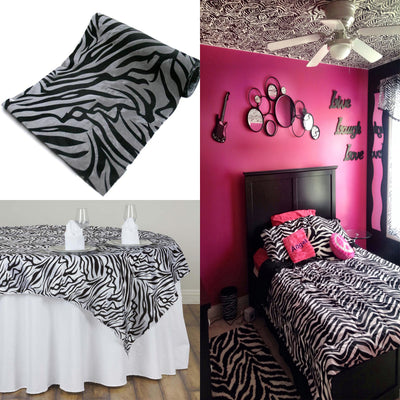 "54""x10 Yards Black/Silver Flocked Taffeta Damask Zebra Animal Print Fabric Bolt"