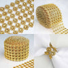 "5"" x 10 Yards Gold Fleur Diamond Rhinestone Ribbon Wrap Roll"