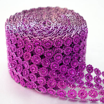 "5"" x 10 Yards Purple Fleur Diamond Rhinestone Ribbon Wrap Roll"