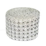 "5"" x 10 Yards Silver Fleur Diamond Rhinestone Ribbon Wrap Roll"
