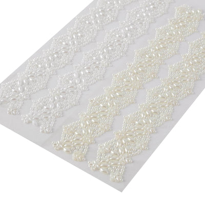 Ivory Self Adhesive Rhinestone DIY Craft Gem Sticker | Floral Pearl Trims