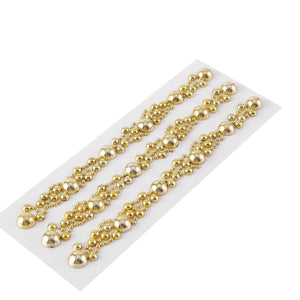 Gold Self Adhesive Pearl Rhinestone Sticker | Peel & Stick DIY Craft Gem Stickers