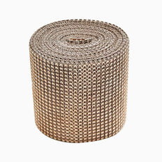 5 inch x 10 Yards Antique Diamond Rhinestone Ribbon Wrap Roll | TableclothsFactory